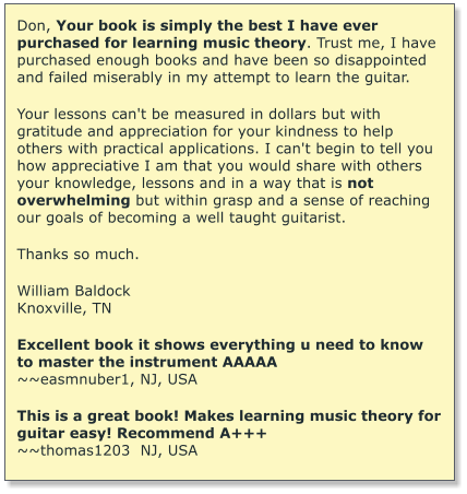 Don, Your book is simply the best I have ever purchased for learning music theory. Trust me, I have purchased enough books and have been so disappointed and failed miserably in my attempt to learn the guitar.   Your lessons can't be measured in dollars but with gratitude and appreciation for your kindness to help others with practical applications. I can't begin to tell you how appreciative I am that you would share with others your knowledge, lessons and in a way that is not overwhelming but within grasp and a sense of reaching our goals of becoming a well taught guitarist.  Thanks so much.  William Baldock Knoxville, TN  Excellent book it shows everything u need to know to master the instrument AAAAA ~~easmnuber1, NJ, USA  This is a great book! Makes learning music theory for guitar easy! Recommend A+++ ~~thomas1203  NJ, USA
